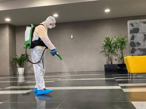 Disinfecting office lobby
