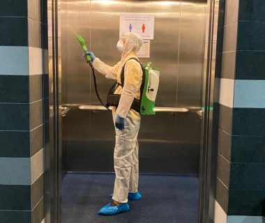 disinfecting office lift